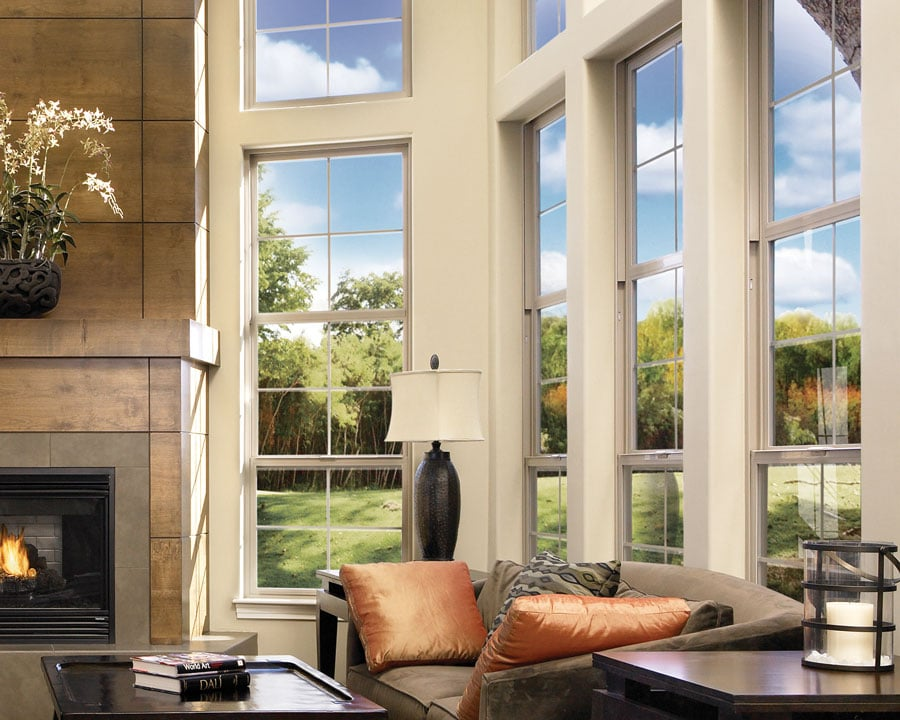 Large vinyl windows in a living room