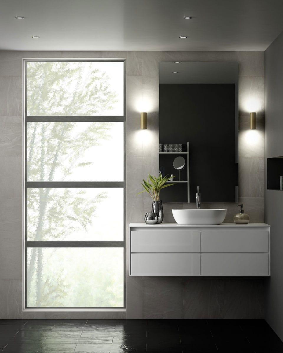 Aluminum windows in a bathroom