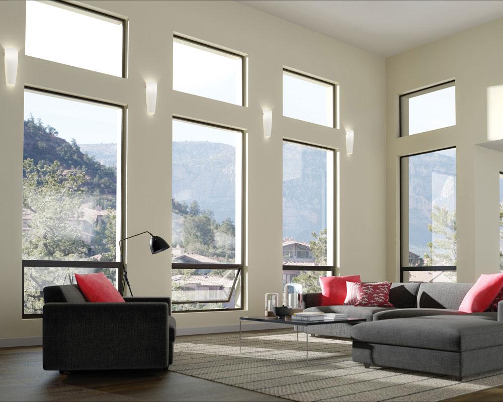 Aluminum windows in a living room