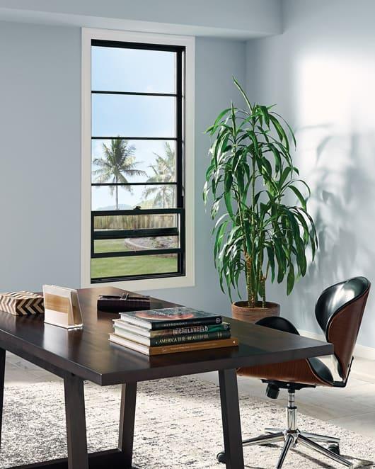Enjoy a comfortable Okanagan home office with beautiful fiberglass windows