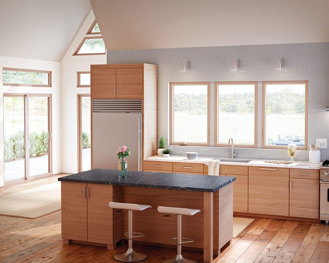 Vinyl windows in a wooden kitchen
