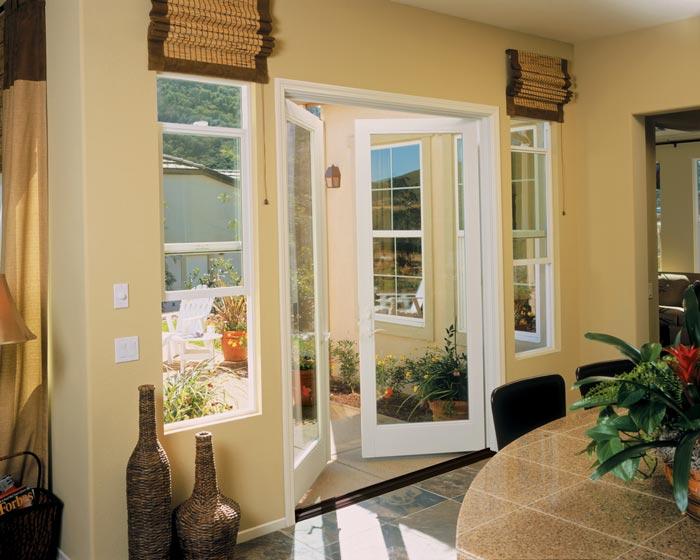 Milgard series white French doors