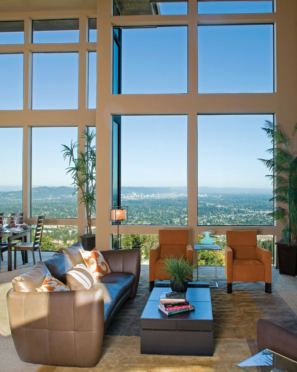 Wall of aluminum windows in a living room